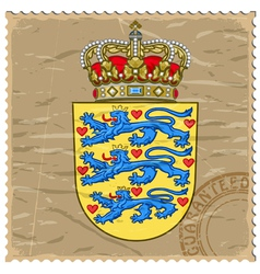 Coat of arms of Denmark on the old postage stamp vector image