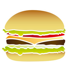 Colorful picture hamburger food fast icon vector