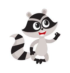 cute little raccoon character sitting in lotus vector image vector image