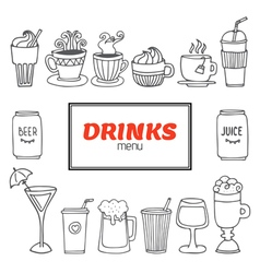 Drinks and beverages hand drawn set Drinks menu vector image vector image