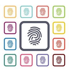 Fingerprint flat icons set vector