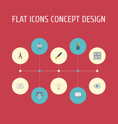 Flat icons scheme science concept and other vector
