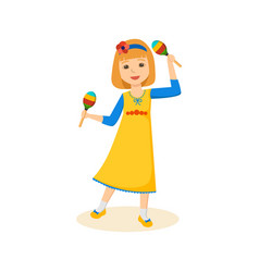 Girl in good festive mood playing the maracas vector
