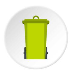 Green trash bin icon circle vector