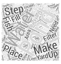 How to make your own backyard fish pond word cloud vector