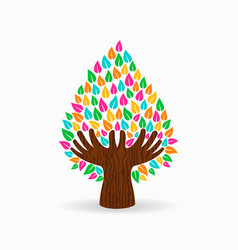 Human hand color tree concept for social help vector