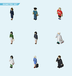 Isometric human set of girl medic hostess and vector