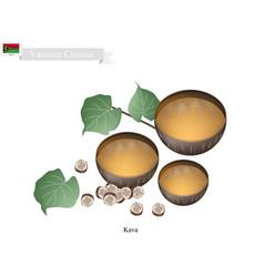 Kava drink or traditional vanuatu herbal beverage vector