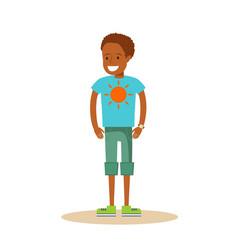 Little black boy on white background vector