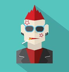 Modern Flat Design Punk Rock Man vector image vector image