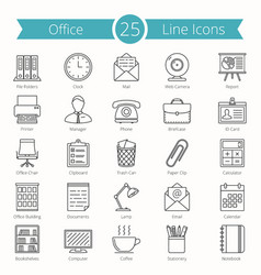 Office line icons vector