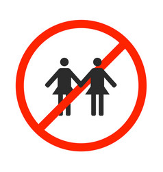 Prohibition sign for same-sex marriage vector