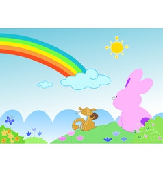 Rainbow with funny animals vector image vector image