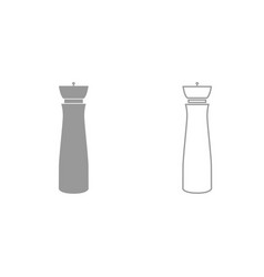 Salt and pepper mill grey set icon vector