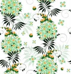 Seamless pattern of stylized ethnic flowers vector image