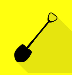 Shovel to work in the garden black icon with flat vector