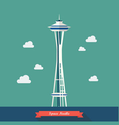 Space needle observation tower in seattle vector