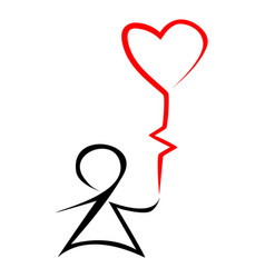 stick figure kid holding heart shaped balloon vector image