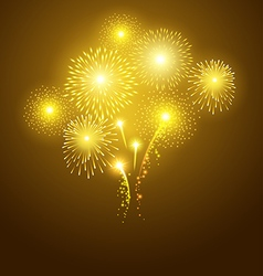 Festival golden fireworks on dark background vector image