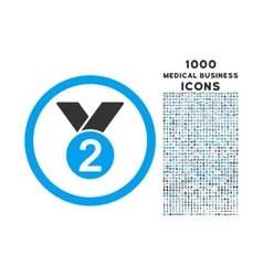Silver Medal Rounded Icon with 1000 Bonus Icons vector image