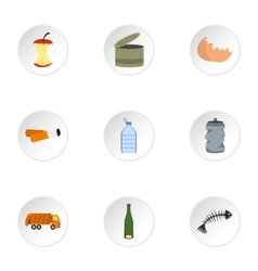 Trash icons set flat style vector