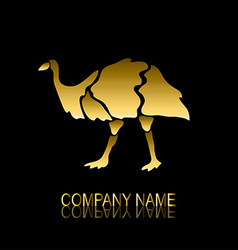 Golden emu symbol vector