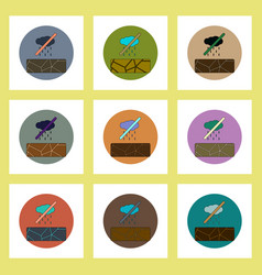 Flat icons set of cracked earth and no rain vector