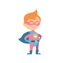 Funny kid in superman costume vector