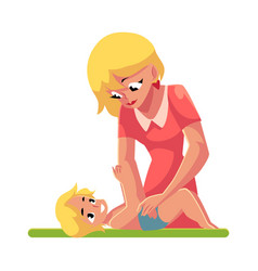 Young mother changing her baby s diaper nappy vector