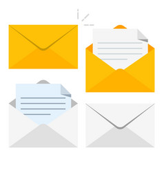 Set of icons with a picture of a closed letter vector
