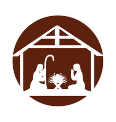 Stable with holy family manger vector