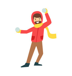 Happy man enjoy playing with a snowballs winter vector