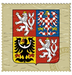 Coat of arms of czech republic on postage stamp vector
