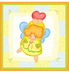 greeting card of cute angel vector image