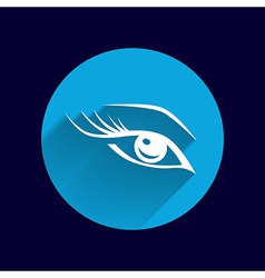 Blue eye with long lashes woman makeup beauty vector