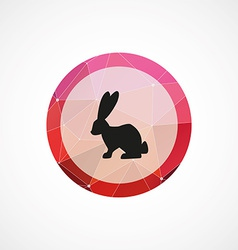 Rabbit circle pink triangle background icon vector