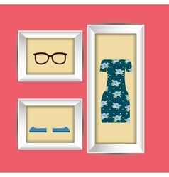 Clothes and frame design vector