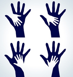 Set of hands silhouette vector