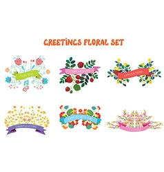 Floral design elements set with ribbons for vector