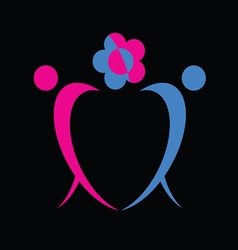 man and woman icon with flower vector image
