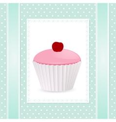 pink cherry cupcake vector image