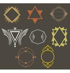 Boho tribal hipster labels set vector image