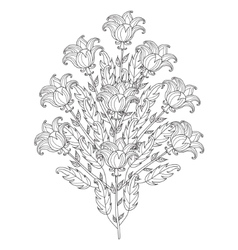 Decorative black and white flowers vector