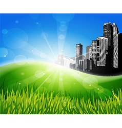 Meadow with sunlight and city at the background vector