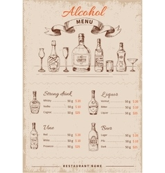 Alcoholic drinks hand drawn menu vector