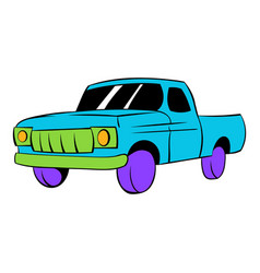 blue pickup icon cartoon vector image