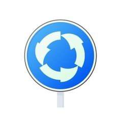 Blue round road sign with white arrows icon vector image vector image