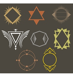 Boho tribal hipster labels set vector image vector image