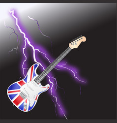 British rock and roll guitar realistic lightning vector