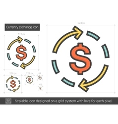 Currency exchange line icon vector